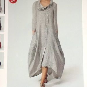 Dresses & Skirts - COWL NECK SINGLE BREASTED MAXI DRESS. LINEN GRAY